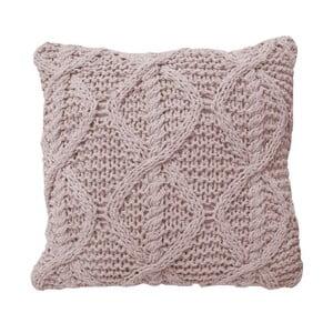 Růžový pletený polštář OVERSEAS,45x45cm