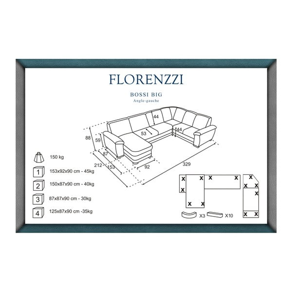 Hnědá pohovka Florenzzi Bossi Big, levý roh