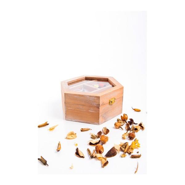 Dřevěná krabička na šití, hranatá