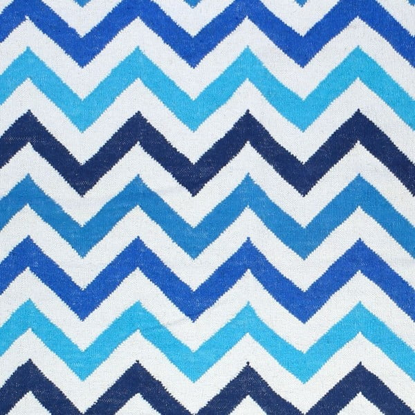 Vlněný koberec Geometry Zic Zac Blue Mix, 160x230 cm