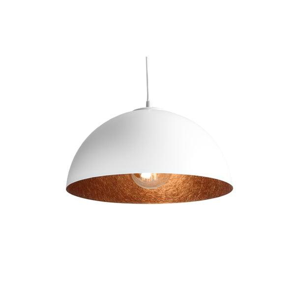 Biele závesné svietidlo s detailom v medenej farbe Custom Form Lord, ø 35 cm