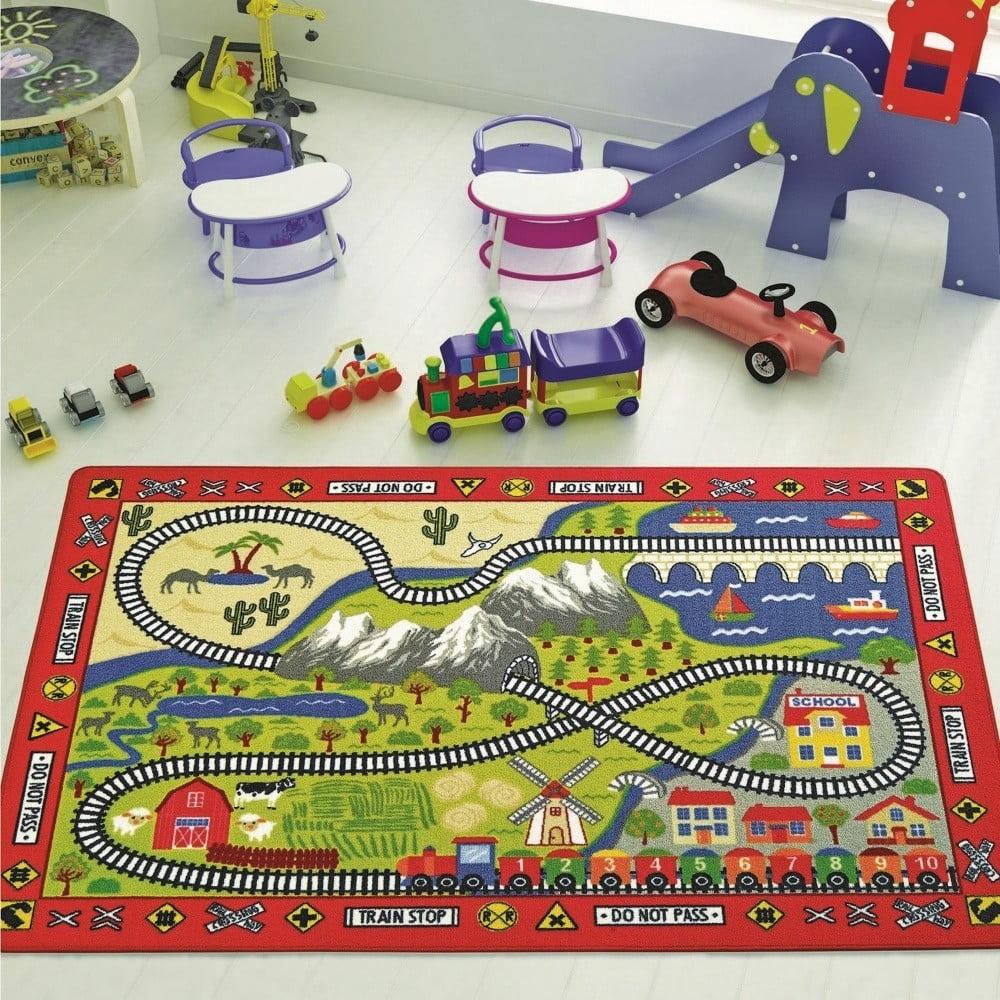Dětský koberec Railway, 100 x 150 cm