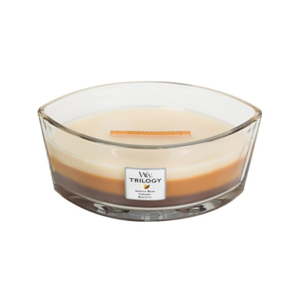 Lumânare parfumată WoodWick Trilogy, cu aromă de desert, 453 g, 50 ore