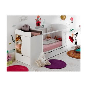Dětská bílá variabilní postel s úložnou zásuvkou a komodou BEBE Provence Combo Belem