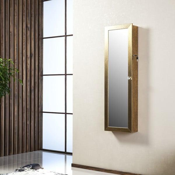 Uzamykatelné závěsné zrcadlo se šperkovnicí Angelita, zlaté