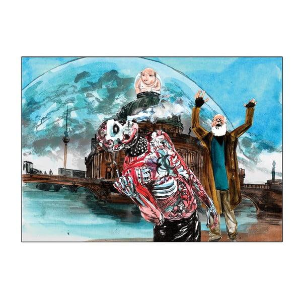 Autorský plakát od Toy Box Bůh stojí na mostě, směje se a vidí ještě víc stínů než před tím, 60x84 cm