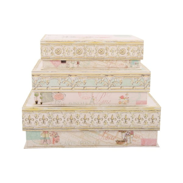 Sada 3 úložných krabic Sweet Paris