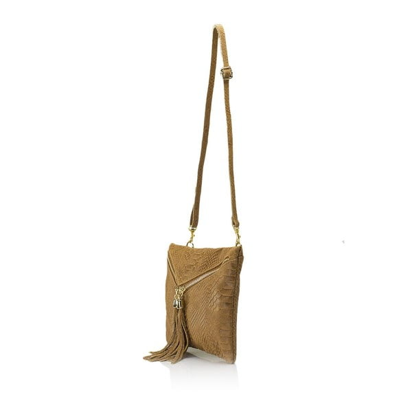 Koňakově hnědá kožená kabelka Giulia Massari Erinn
