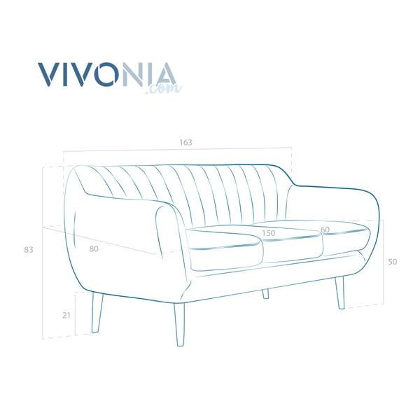 Canapea cu 3 locuri Vivonia Kennet, albastru