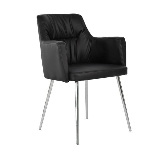 Černá kožená jídelní židle RGE Mars