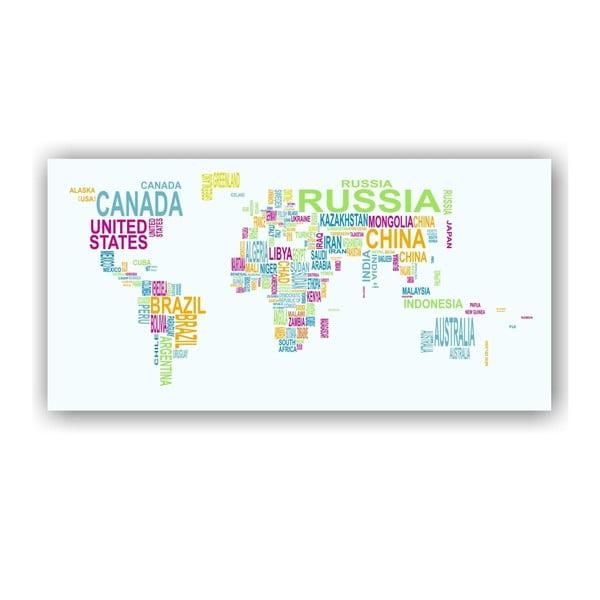 Nástěnná mapa světa na plátně Tomasucci Text World, 80x160cm
