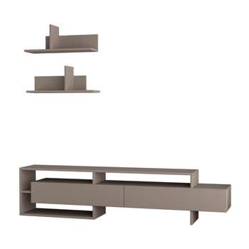 Set masă TV și 2 rafturi de perete Homitis Gara, gri – maro de la Homitis