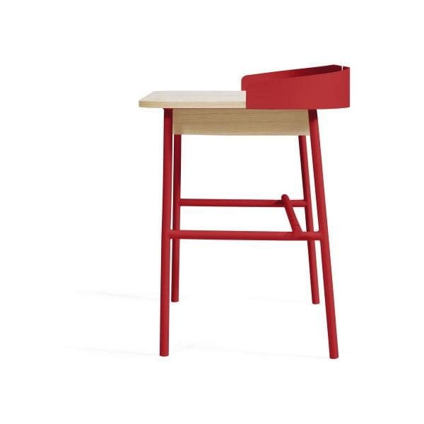 Červený pracovní stůl v dekoru dubového dřeva HARTÔ Victor, 100x60cm
