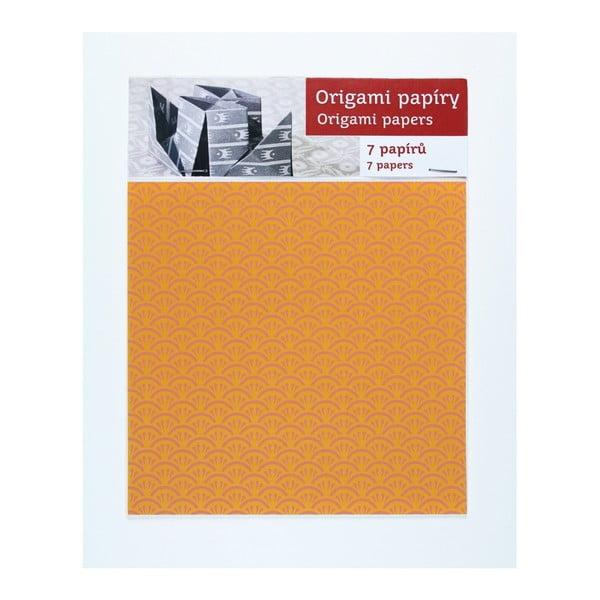 Růžovo-žluté origami papíry Calico