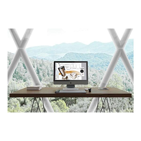 Jídelní stůl s deskou v dekoru dřeva a kovovými nohami TemaHome Trestle, 90 x 160 cm
