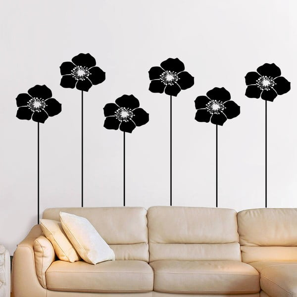 Samolepka na zeď Květy a stonky, 90x60 cm