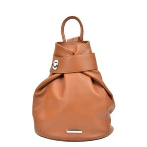 Koňakově hnědý kožený batoh Anna Luchini Louisa
