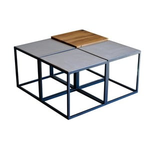 Konferenční stolek s deskami z rekultivovaného dubového dřeva a betonu FLAME furniture Inc. Module
