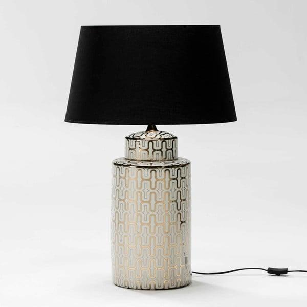 Biało-złota lampa stołowa z ceramiki bez abażuru Thai Natura