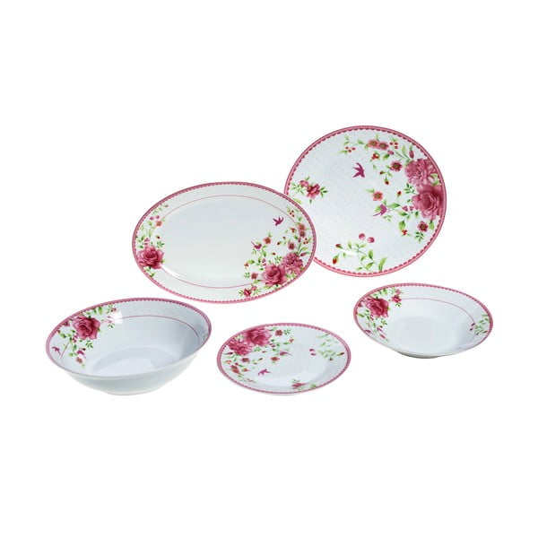 Porcelánové nádobí Pink Rose, 20 ks
