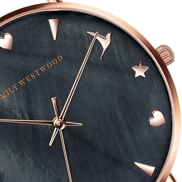 Set dámským hodinek s nerezovým páskem v černé barvě a náramku Emily Westwood Laro