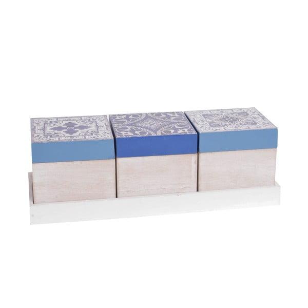 Sada 3 dřevěných boxů InArt Aquamarine, modrý