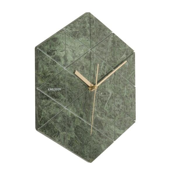 Zelené nástěnné hodiny Karlsson Hexagon