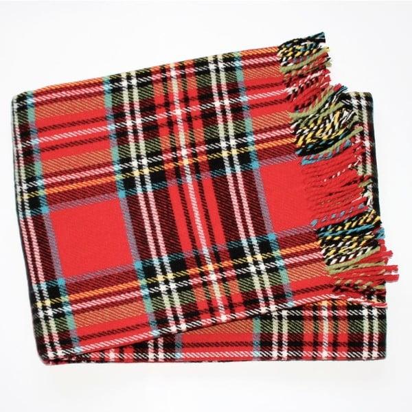 Czerwony koc w kratę z dodatkiem bawełny Euromant Scott, 140x180 cm