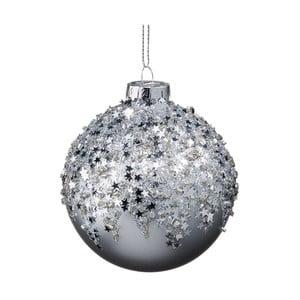 Vánoční závěsná ozdoba ze skla se stříbrnými hvězdami Butlers, ⌀ 8 cm