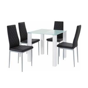 Sada stolu a 4 černých židlí Støraa Nara