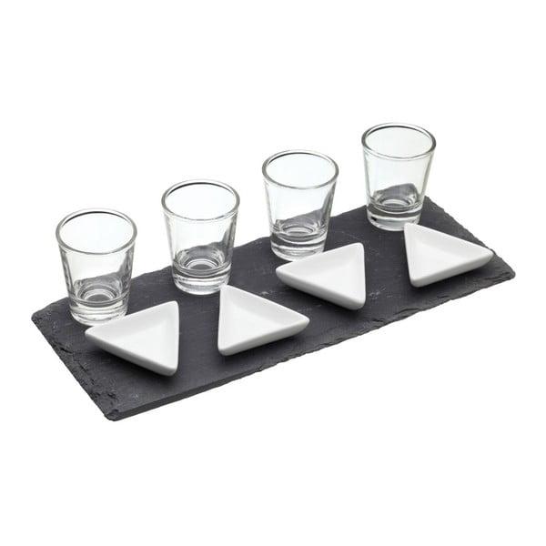 Servírovací podnos Triangle s miskami a skleničkami
