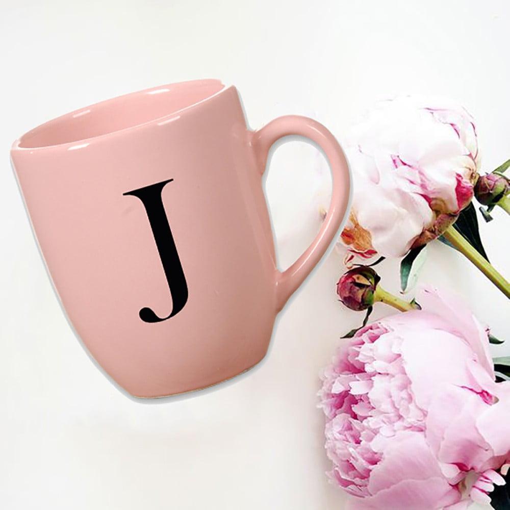 Růžový keramický hrneček Vivas Letter J, 330ml