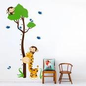 Samolepka na zeď Strom a zvířátka, 90x60 cm