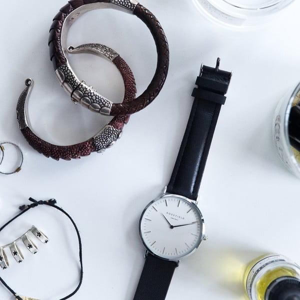 Stříbrnočerné dámské hodinky Rosefield The Bowery