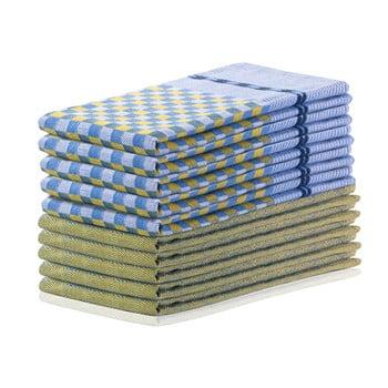 Set 10 prosoape de bucătărie din bumbac DecoKing Louie, 50 x 70 cm, galben muștar și albastru imagine