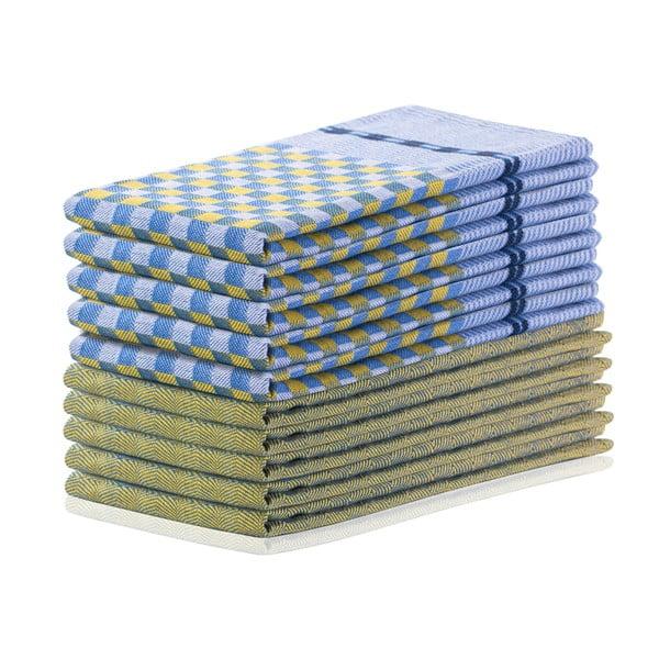 Louie 10 db-os sárga és kék pamut konyharuha szett, 50 x 70 cm - DecoKing