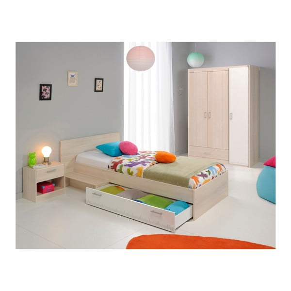 Jednolůžková postel v dekoru akáciového dřeva se zásuvkou Parisot Austina, 90x200cm