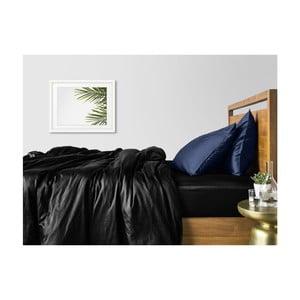 Sada 2 černo-modrých bavlněných povlečení na jednolůžko s černým prostěradlem COSAS Lago, 160 x 220 cm