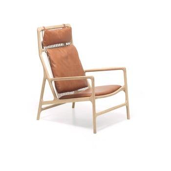 Fotoliu cu structură din lemn masiv de stejar şi șezut din piele bivol Gazzda Dedo, maro cognac poza
