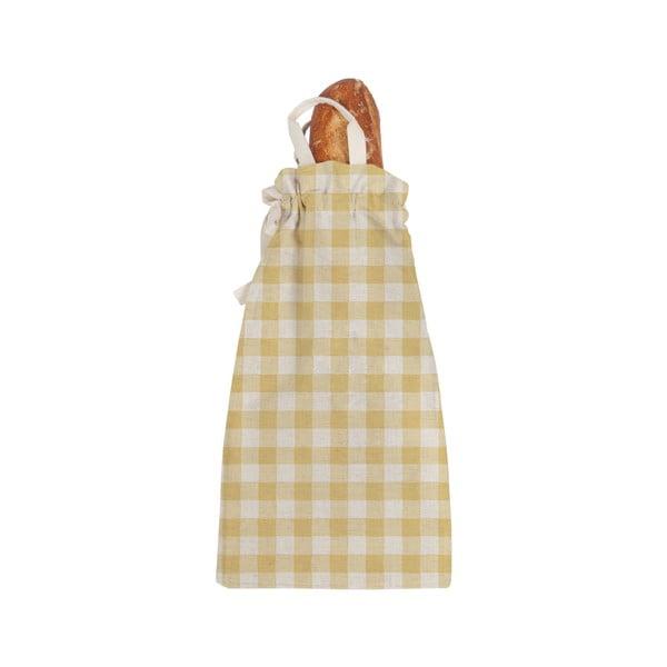 Linen Bread Bag Yellow Vichy szövet, pékárutartó táska - Linen Couture