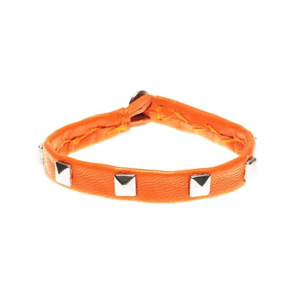 Náramek Leather stud silver, orange