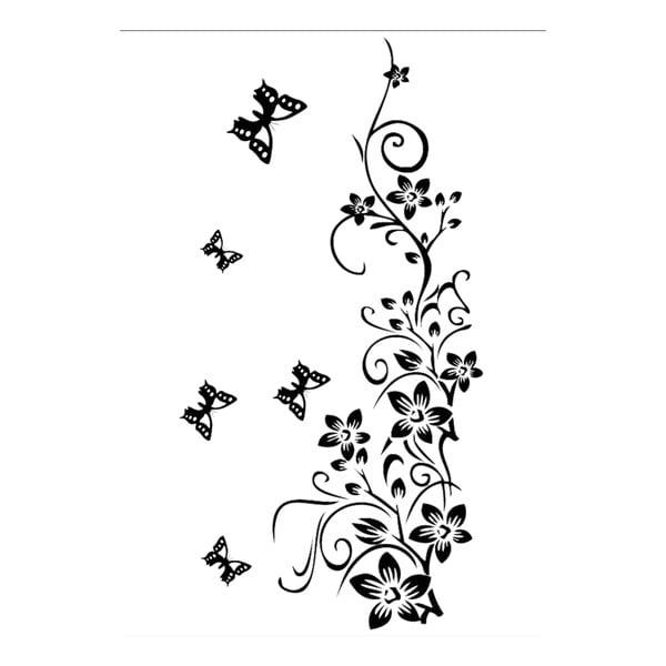 Dekorativní samolepka Květiny s motýly, 150x90 cm