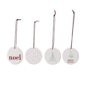 Sada 4 závěsných vánočních kameninových dekorací Bloomingville Noel