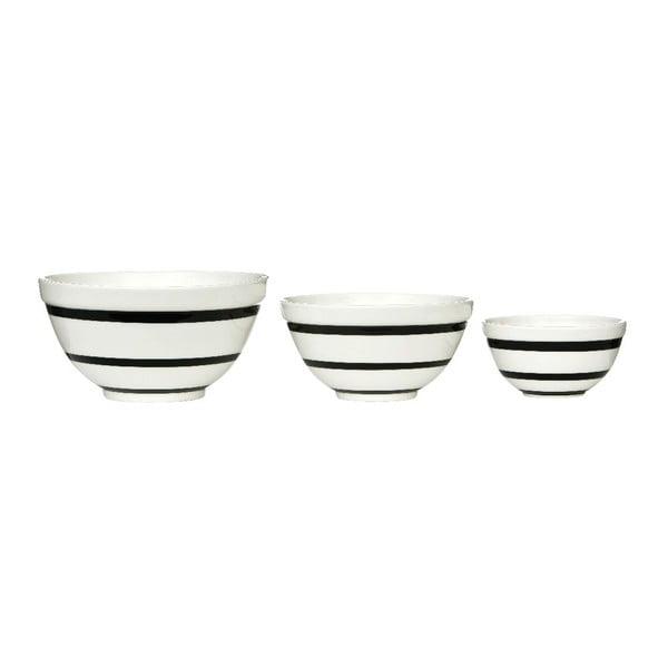 Set 3 keramických misek Black Stripe