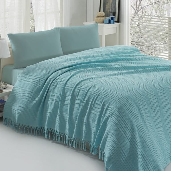 Lehký přehoz přes postel Pique Blue, 220x240cm