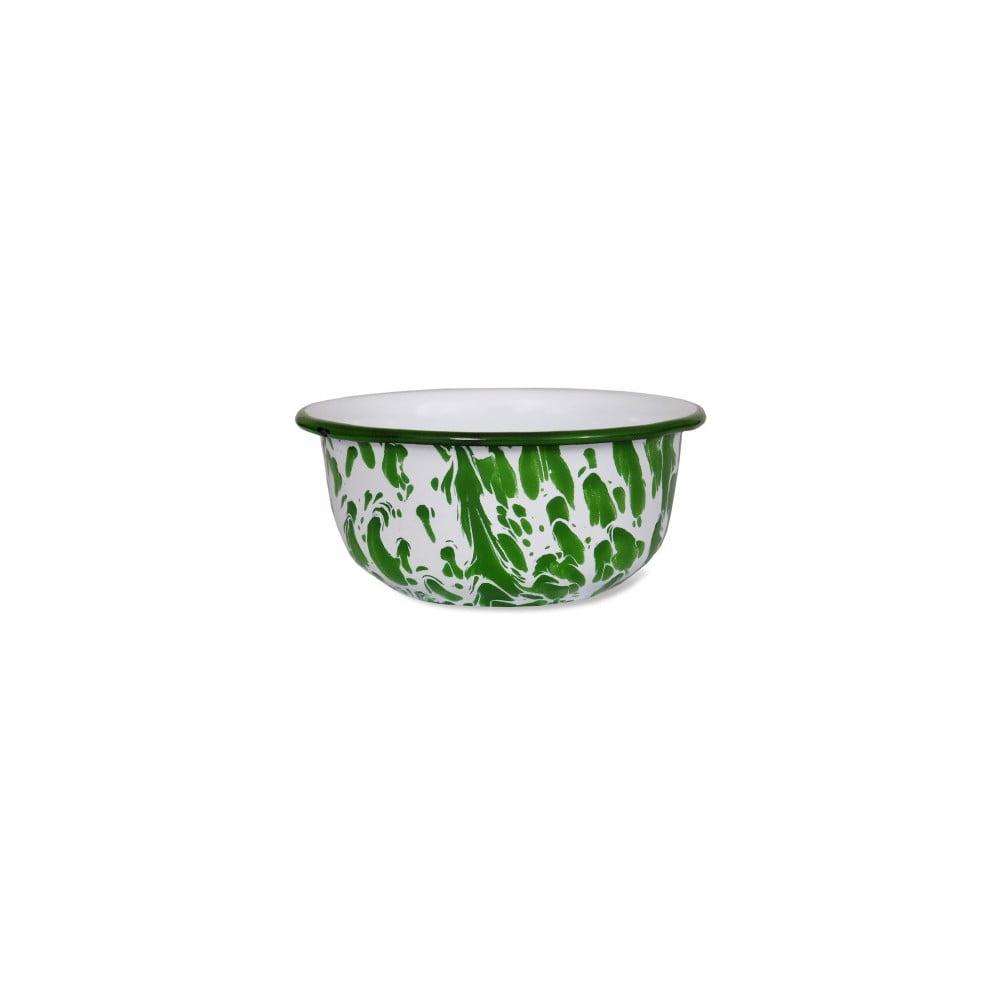 Bílo-zelená smaltovaná miska Garden Trading Keswick