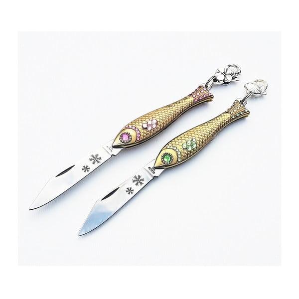 Sada 2 zlatých vánočních nožíků rybiček v plechové krabičce,