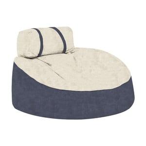 Modrý sedací puf s béžovým vrškem Poufomania Cookie