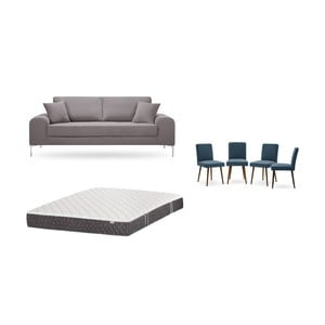 Set třímístné hnědé pohovky, 4modrých židlí a matrace 160 x 200 cm Home Essentials