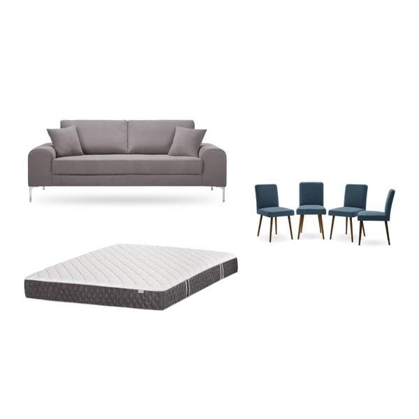 Set canapea maro cu 3 locuri, 4 scaune albastre, o saltea 160 x 200 cm Home Essentials